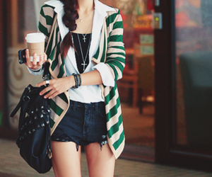 fashion, coffee, and shorts image
