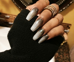 diamond rings, gold rings, and glitter ombre nails image