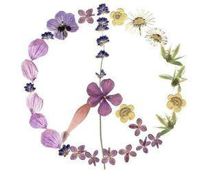 flowers, lilac, and peace sign image