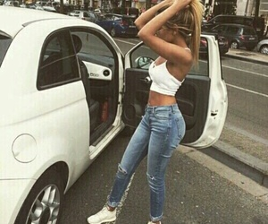 beautiful, girl, and white car image
