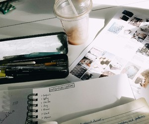 coffe, desk, and food image
