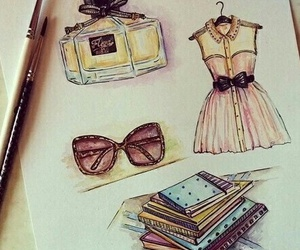 drawing, dress, and perfume image