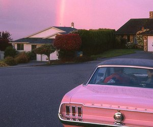 pink, car, and rainbow image
