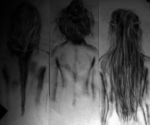 black and white, drawings, and fashion image