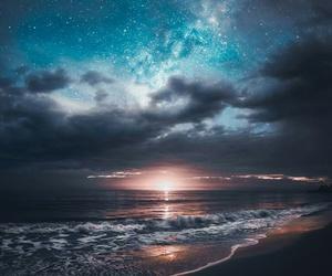 sky, beach, and sea image
