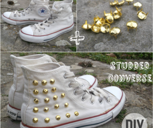 converse, diy, and studded shoe image