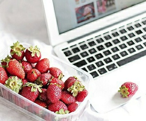 strawberry, macbook, and apple image