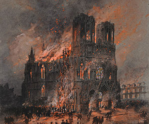 art and cathedral+burning image