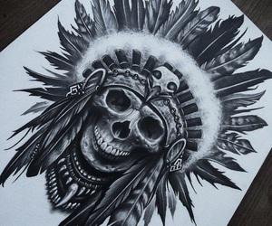 drawing, skull, and art image