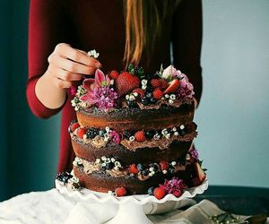 birthday cake, naked cake, and cake image