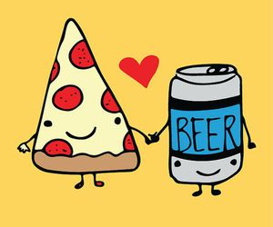 beer, illustration, and pizza image