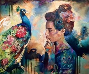 art, peacock, and girl image