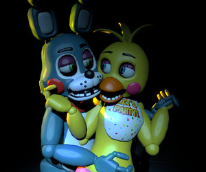 five nights at freddys, toy bonnie, and toy chica image