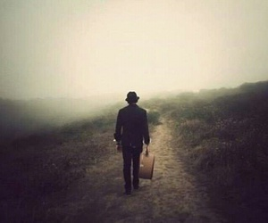 suitcase, fog, and hat image