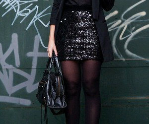 black, glitter, and fashion image