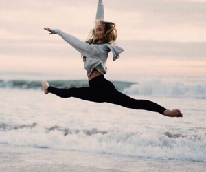 girl, gymnastics, and sea image