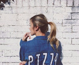 pizza, girl, and fashion image