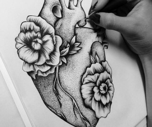 draw, flowers, and heart image