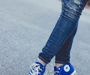 converse, blue, and shoes image
