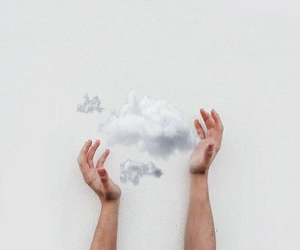 clouds, hands, and white image