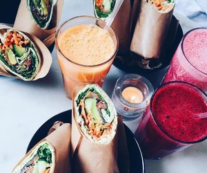 drink, lunch, and food image