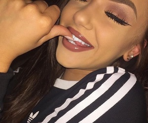 adidas, lashes, and makeup image