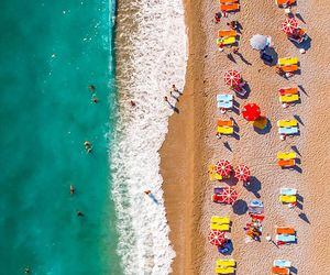 beach, turkey, and beach umbrellas image