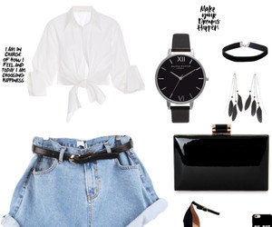 black sandals, white blouse, and Polyvore image