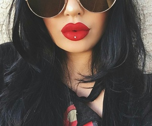 lip piercing, septum piercing, and red matte lipstick image