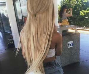 blonde, long hair, and straight hair image