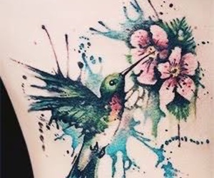tattoo, flowers, and bird image