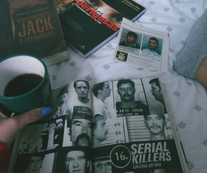 books, coffe, and ted bundy image