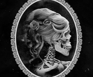 skull, black and white, and woman image