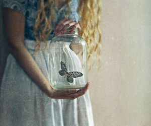 butterfly, vintage, and blonde image
