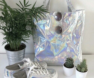plants, holographic, and shoes image