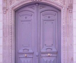 purple, door, and pink image