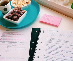 notes, popcorn, and school image
