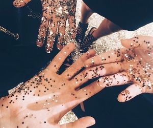 glitter, hands, and friends image
