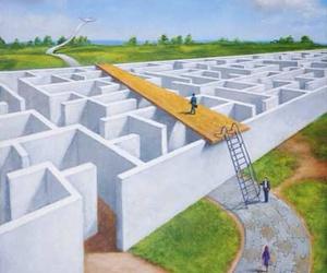 labyrinth, rafal olbinski, and surreal image