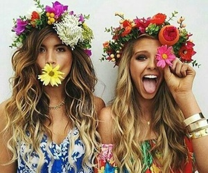 flowers, friends, and hair image