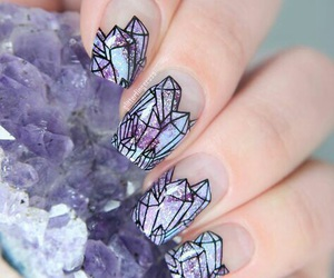 nails, purple, and diamond image