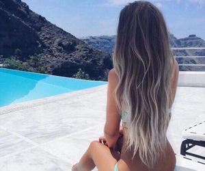 fashion, hairstyle, and pool image