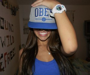 girl, blue, and obey image