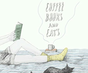 books, cat, and coffee image