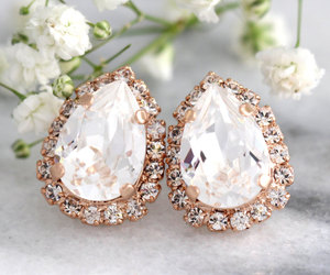 bridal, fashion, and silver earrings image