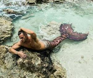 boy, mermaid, and triton image