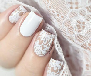 nails, white, and lace image