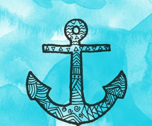 anchor, sea, and wallpaper image