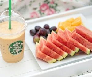 food, fruit, and starbucks image