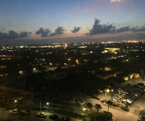 city, sunset, and clouds image